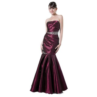 DFI Women's Strapless Mermaid Pleated Gown with Bling Detail