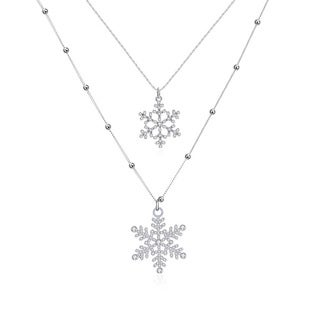 Hakbaho Jewelry White Gold Plated Duo-Snowflake Dangling Necklace