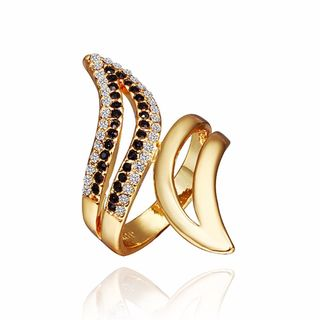 Hakbaho Jewelry Gold Plated Swirl Ring with Onyx Cubic Zircon Ring