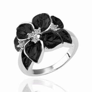 Hakbaho Jewelry White Gold Plated Onyx Flower Petal Cubic Zircon Ring