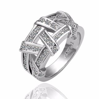 Hakbaho Jewelry White Gold Plated Abstract Tied Cubic Zircon Covering Ring