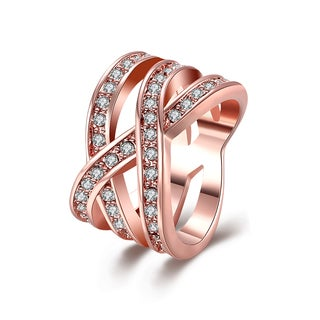 Hakbaho Jewelry Rose Gold Plated Infinite Matrix Cubic Zircon Ring