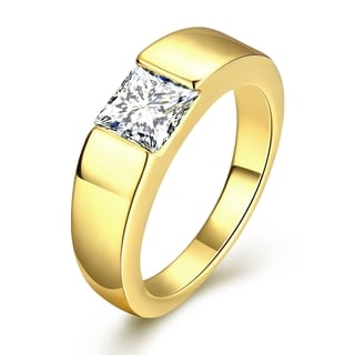 Gold Plated Classic Design with Cubic Zircon Insert Ring