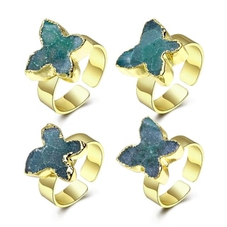 Hakbaho Jewelry Druzy Blue Starfish Design Gold Plated Ring