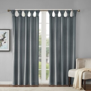 Madison Park London Poly Velvet Twisted Top Curtain Panel