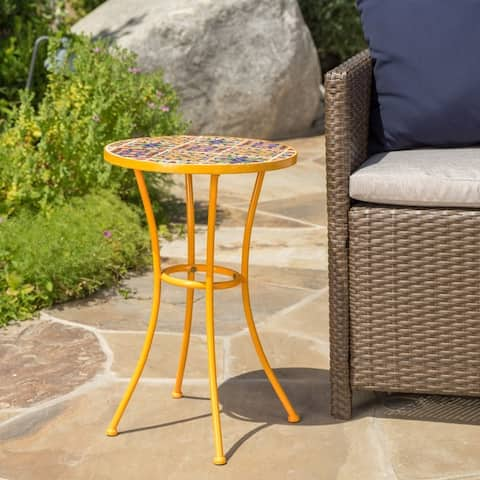 Barnsfield Outdoor Round Tile Side Table by Christopher Knight Home