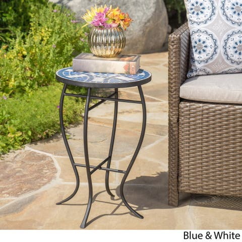 Han Outdoor Round Tile Side Table by Christopher Knight Home