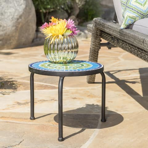 Iris Outdoor Round Tile Side Table/ Planter by Christopher Knight Home