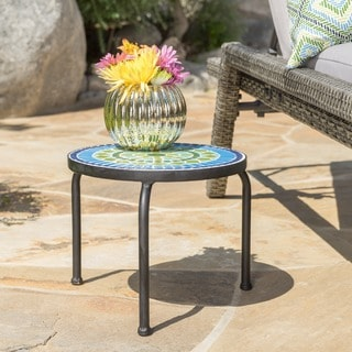 Iris Outdoor Round Tile Side Table by Christopher Knight Home
