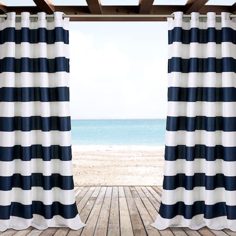 "Lush Decor Stripe Outdoor Curtain Panel Pair - 52"" W X 84"" L"