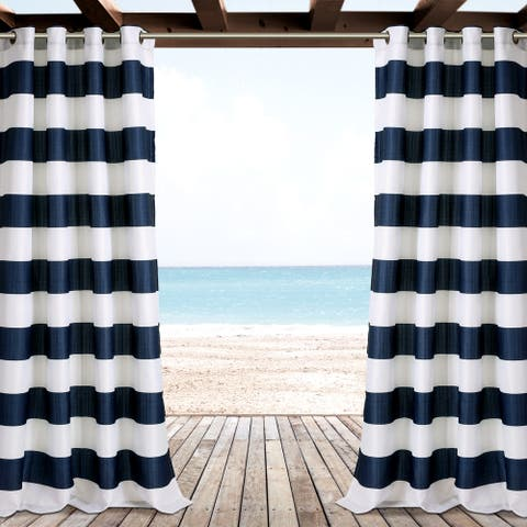 "Lush Decor Stripe Outdoor Curtain Panel Pair - 52"" W X 84"" L"