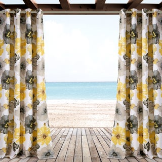 "Lush Decor Leah Outdoor Curtain Panel Pair - 52"" W X 84"" L"