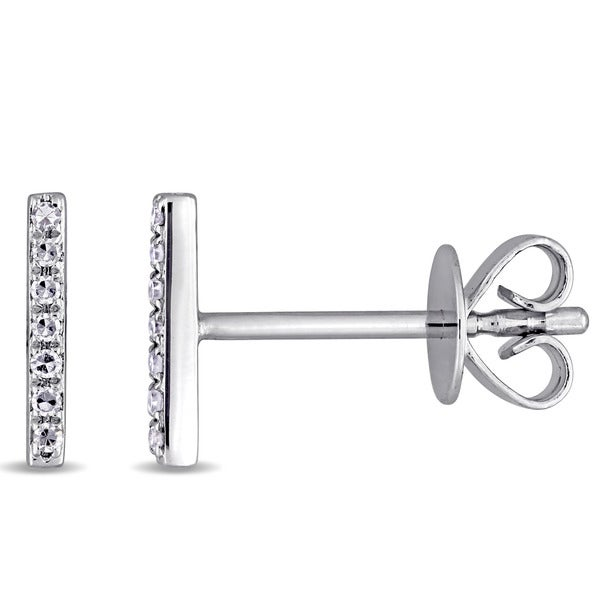 Miadora 14k White Gold Diamond Accent Vertical Bar Stud Earrings