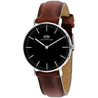 Daniel Wellington Women's DW00100142 'St Mawes' Brown Leather Watch - black