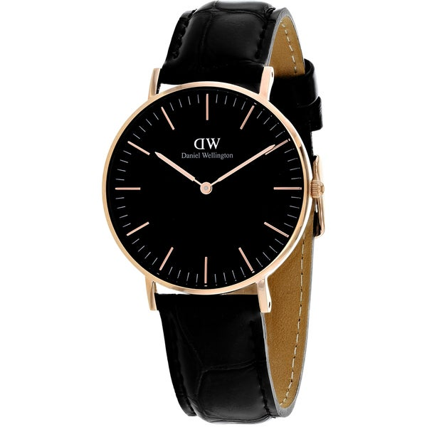 f377fbe7930d Shop Daniel Wellington Women s  Classic  Reading Black Leather Watch - Free  Shipping Today - Overstock - 16534564