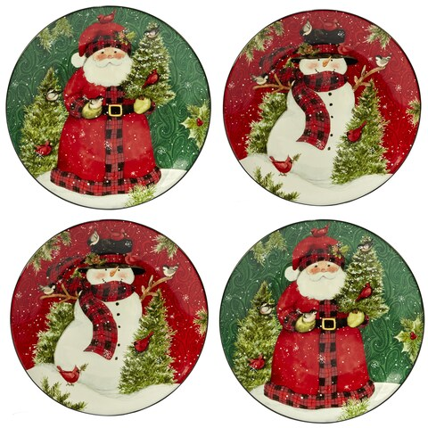 Certified International Winter's Plaid Dinner Plates