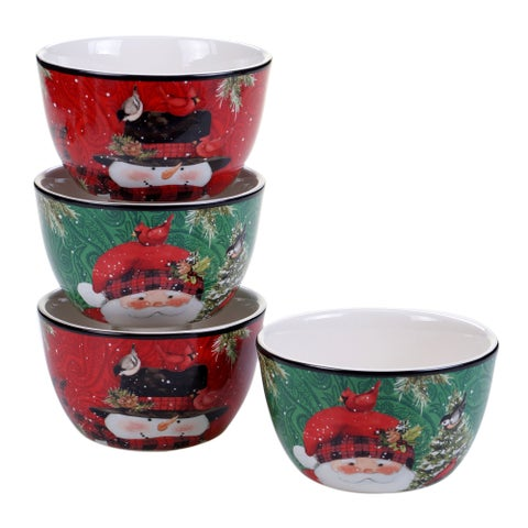 Certified International Winter's Plaid Ice Cream Bowls - Set of 4