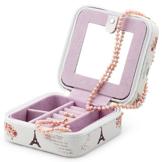 Pearlyta Unique Jewelry Box Set with Pink Pearl Necklace, Bracelet, and Earring Set with 14k Gold Findings