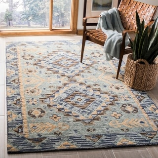 Safavieh Aspen Southwestern Geometric Hand-Tufted Wool Blue/ Beige Area Rug (8' x 10')