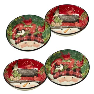 Certified International Winter's Plaid Individual Soup/Pasta Bowls - Set of 4