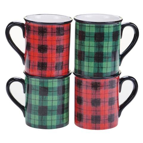 Certified International Winter's Plaid 16 oz Mug. - Set of 4