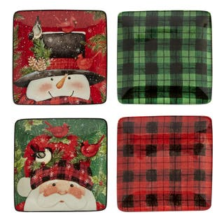 Certified International Winter's Plaid Set of 4 Canape Plates|https://ak1.ostkcdn.com/images/products/16534998/P22870059.jpg?impolicy=medium