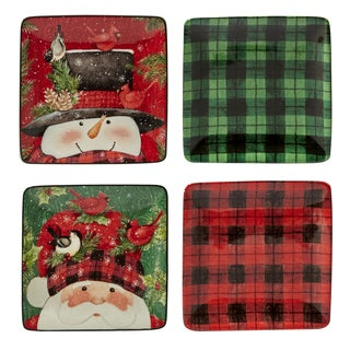 Certified International Winter's Plaid Set of 4 Canape Plates