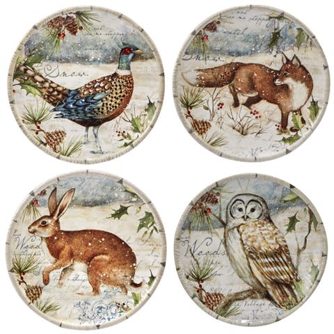 Certified International Winter's Lodge Set of 4 Canape Plate - Round