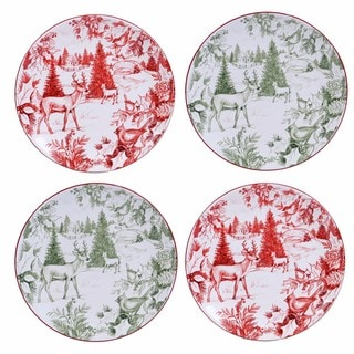 Certified International Winter Field Notes Set of 4 Toile Dessert Plate