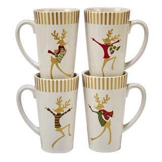 Certified International Gold Dancing Reindeer Set of 4 Latte Mug