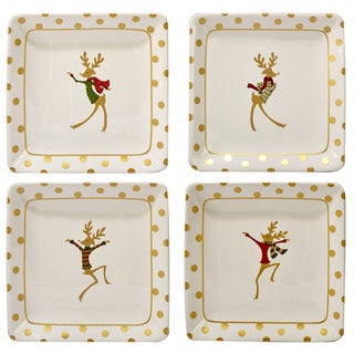 Certified International Gold Dancing Reindeer Set of 4 Canape Plate