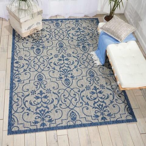 Nourison Garden Party Ivory/Blue Indoor/Outdoor Area Rug - 7'10 x 10'6