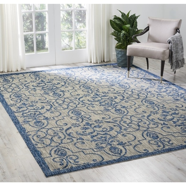Nourison Garden Party Ivory/Blue Indoor/Outdoor Area Rug - 7'10 x 10'6