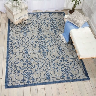 Nourison Garden Party Ivory/Blue Indoor/Outdoor Area Rug (7'10X10'6 )