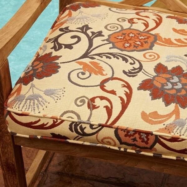 Kokomo Teak Dining Chair Cushion With Floral Sunbrella Fabric