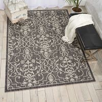 Nourison Garden Party Charcoal Indoor/Outdoor Area Rug - 7'10 x 10'6