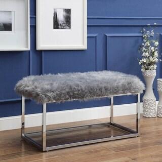 Degas Faux Fur Ottoman Bench with Metal Frame