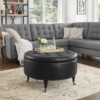 Spencer Leather Hidden-storage Button-tufted Ottoman
