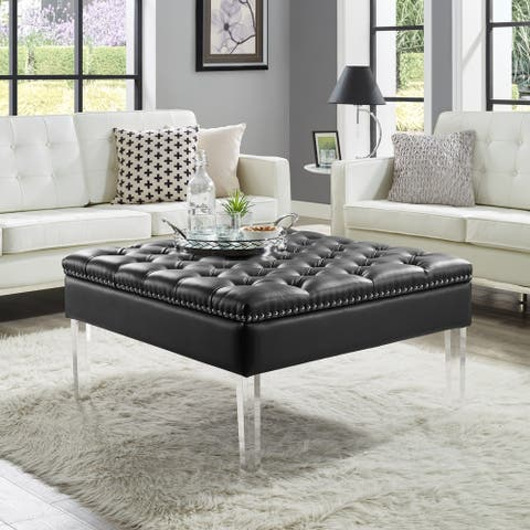 Vivian Leather Oversized Button-tufted Ottoman Coffee Table