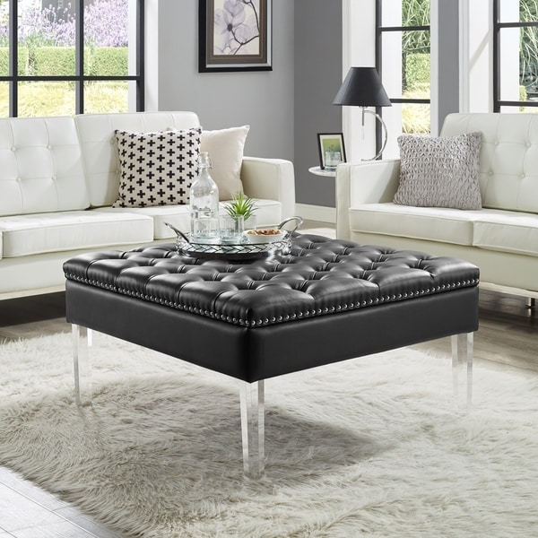 Charming Vivian Leather Oversized Button Tufted Ottoman Coffee Table