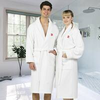 Authentic Hotel and Spa White Unisex Turkish Cotton Waffle Weave Terry Bath Robe with Red Block Monogram