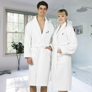 Authentic Hotel and Spa White Unisex Turkish Cotton Waffle Weave Terry Bath Robe with Navy Script Monogram|https://ak1.ostkcdn.com/images/products/16535167/P22870191.jpg?impolicy=medium