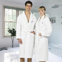 Authentic Hotel and Spa White Unisex Turkish Cotton Waffle Weave Terry Bath Robe with Navy Script Monogram