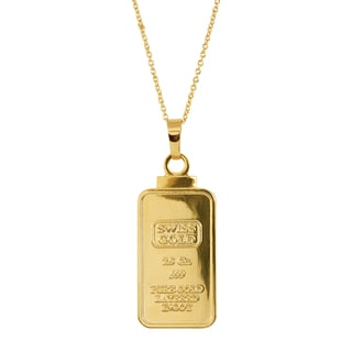 American Coin Treasures 2.5 Gram Swiss Ingot Replica Coin Pendant Layered in 24KT Gold