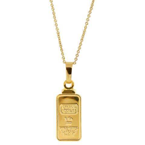 American Coin Treasures 1 Gram Swiss Ingot Replica Coin Pendant Layered in 24KT Gold