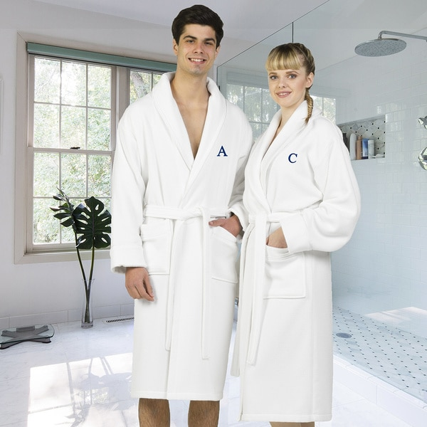 Authentic Hotel and Spa White Unisex Turkish Cotton Waffle Weave Terry Bath Robe with Navy Block Monogram