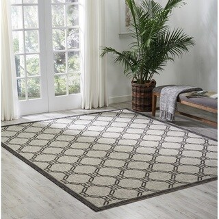 Nourison Garden Party Ivory/Charcoal Indoor/Outdoor Area Rug (7'10X10'6 )
