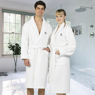 Link to Authentic Hotel and Spa White Unisex Turkish Cotton Waffle Weave Terry Bath Robe with Grey Block Monogram Similar Items in Bathrobes