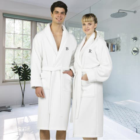Authentic Hotel and Spa White Unisex Turkish Cotton Waffle Weave Terry Bath Robe with Grey Block Monogram