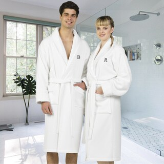 Authentic Hotel and Spa White Unisex Turkish Cotton Waffle Weave Terry Bath Robe with Grey Block Monogram (More options available)